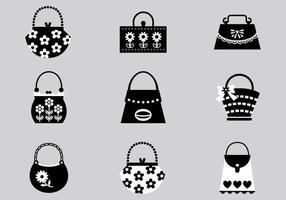 Schwarz und rosa Handtasche Vektor Pack