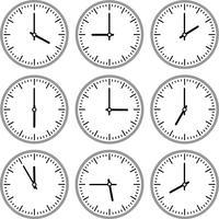 Rörelser och klockor vektor