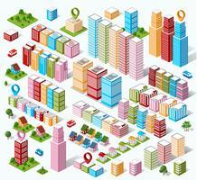 Isometrische Häuser, Stadthäuser,