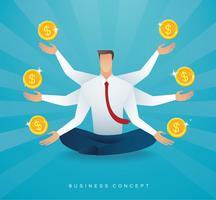 Affärsman sitter i lotus utgör meditation med mynt pengar symbol