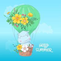 Illustration av en söt flodhäst i en ballong. Handdragning