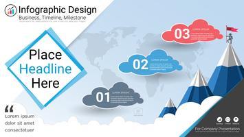 Business infographics mall, Milestone tidslinje eller vägkarta med Process flowchart 3 alternativ.