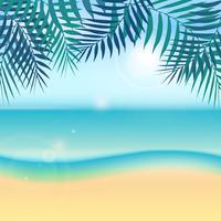 Natur sommarlov tropisk bakgrund med grön palmblad eller kokosnöblad på stranden och sol, himmel, hav.