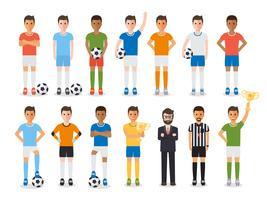 Fotbollsspelare, fotbollsportsutövare teckenuppsättning. vektor