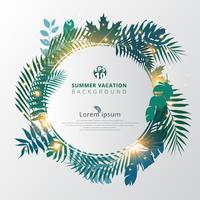 Sommer tropisch mit exotischen Palmblättern oder Pflanzen und Lichteffekt auf weißem Hintergrund.