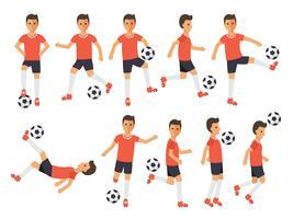 Fußballspieler, Fußballsportler in Aktionen. vektor