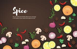 Gewürz- und Gemüsenahrungsmittelhintergrund und -raum für schreiben