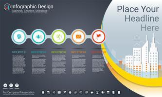 Business infographics mall, Milestone tidslinje eller vägkarta med Process flowchart 5 alternativ. vektor