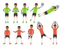 Fotbollsspelare, fotbollsmålvakt i handlingar.
