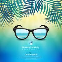 Zusammenfassung des Sommerzeithintergrundes mit Sonnenbrille und Blättern der Natur, Sonnenschein hell auf Mitte des Themas des blauen Himmels.