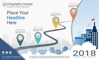 Vorlage für Geschäftsinfografiken, Meilenstein-Zeitachse oder Roadmap mit Optionen für Prozessablaufdiagramm 4.
