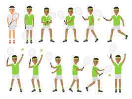 Tennisspelare, idrottsutövare i tävlingsaktiviteter. vektor
