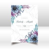Elegant Bröllop Inbjudningskort Med Vacker Akvarell Blommor vektor