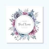 Kreis-Weinlese-Aquarell-Blumenrahmen-Hintergrund