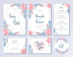 Lycklig bröllopsinbjudan Kortmall Set Akvarell Blommig blommar stil vektor