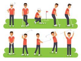 Golfspelare, golfsportera idrottare i handlingar.