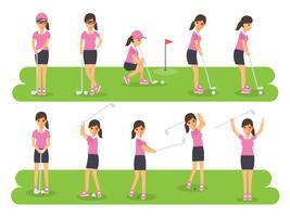 Golfspelare, golfsportera idrottare i handlingar. vektor