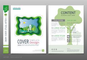 Abdeckungsbuchdesign-Schablonenvektor, grünes Energiekonzept.
