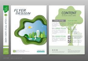 Abdeckungsbuchdesign-Schablonenvektor, grünes Energiekonzept. vektor