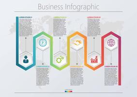 Företagsdatavisualisering. Tidslinje infografiska ikoner avsedda för abstrakt bakgrundsmall med 6 alternativ. vektor