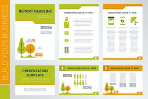 A4-Deckblatt und Präsentationsvorlage im grünen Thema