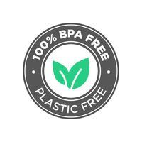 100% BPA frei. 100% Kunststoff Kostenloses Icon. vektor