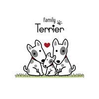 Terrier Hundfamilj Far Mor och Nyfödd Baby.