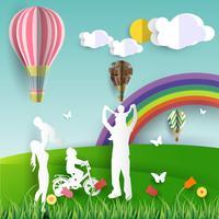 Glückliche Familie, die Spaßnaturlandschaft und -regenbogen hat Papierschnittart Vektor, Illustrationsdesign