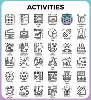 Dagliga aktiviteter koncept detaljerade linje ikoner vektor