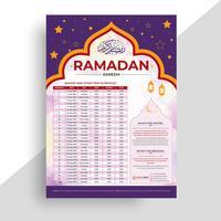 Ramadan Kareem Kalenderdesign. Islamic Calendar och Sehri Ifter Time Schedule. vektor
