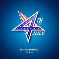 4 juli självständighetsdagen i USA Vektorillustration med 4 nummer i stjärntecken. Fjärde juli Nationell Firande Design med amerikanska flaggmönster på blå bakgrund