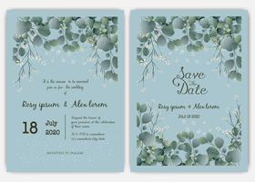 Greenery Bröllop Inbjudan, Mall Eucalyptus Bröllop Inbjudan.