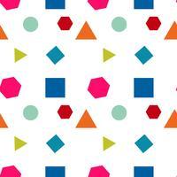 Nahtloses Muster mit Kreisen, Quadrat, Dreieck und Hexagon von neuen Farben auf einem weißen Hintergrund. Vektor wiederholende Textur.