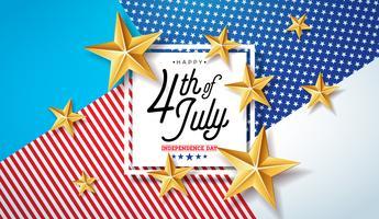 4 juli självständighetsdagen i USA Vector Illustration. Fjärde av juli American National Celebration Design med stjärnor och typografi Brev på abstrakt bakgrund