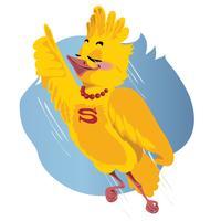 Fågelns superman flyger. Vektor illustration på vit bakgrund