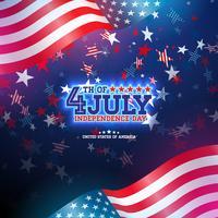 4 juli självständighetsdagen i USA Vector Illustration. Fjärde av juli amerikanska nationella Celebration Design