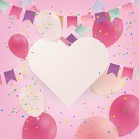 Årsdag eller grattis på födelsedagskort fest bakgrund med ballonger. Illustration.