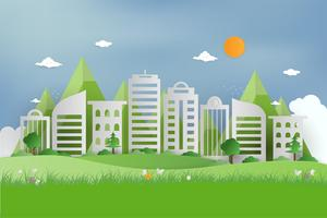 Natur utsikt över grönt gräs i trädgården på sommaren och allmän park på stadsorten. origami koncept och ekologi idé. stadsbilden som bakgrund och bakgrundsbild. vektor