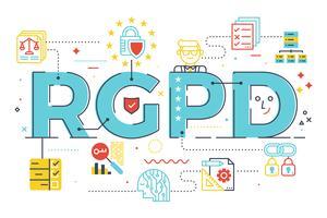 Europäische GDPR (Allgemeine Datenschutzverordnung) Wort Konzept Illustration in spanischer Abkürzung (RGPD)