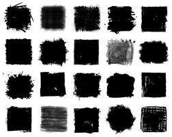 Grunge-Stil Reihe von quadratischen Formen. Vektor.