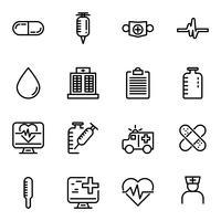 Enkel uppsättning sjukvård. tunna ikoner för webben.