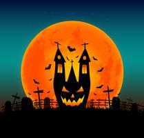 Halloween bakgrund med flygande fladdermus på och fullmåne. Vektor illustration. Glad Halloween affisch. skrämmande leende pumpor