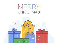 Frohe Weihnachten und ein glückliches Neues Jahr. Weihnachtshintergrund. dünne Linie Kunststil.