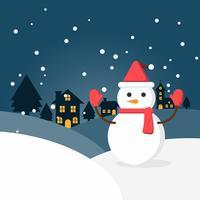 Winterschnee und Schneemann in der städtischen Landschaft mit Stadtdorf. Frohes neues Jahr und frohe Weihnachten.