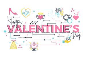 Lycklig Alla hjärtans dag bokstäver vektor