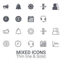 Set med blandade ikoner. Tunn linje och fast ikon.