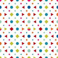 Nahtloses Muster mit Kreisen, Quadrat, Dreieck und Hexagon von neuen Farben auf einem weißen Hintergrund. Vektorillustrationen, die Beschaffenheit wiederholen.