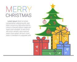 Frohe Weihnachten und ein glückliches Neues Jahr. Weihnachtshintergrund. dünne Linie Kunststil. vektor