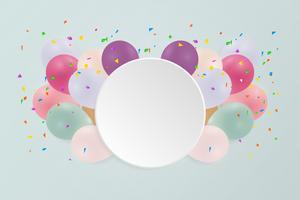 Grattis på födelsedagskort med pastellfärgade ballonger. Vektor illustration. kopiera utrymme.