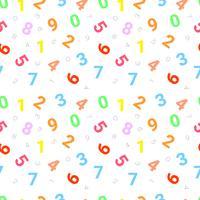 Sömlöst mönster med siffror från noll till nio på en vit bakgrund. Vektor upprepande textur.